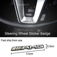 1PCS Silver AMG Steering Wheel  Badge Emblem Speaker Sticker
