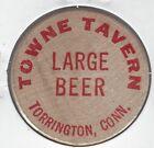TOWN TAVEREN, Torrington, Connecticut, Large Beer, Bar Token, Wooden Nickel