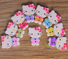 Cute 100 pcs Colorful Hello Kitty Wooden Mixed Buttons for Sewing and Crafting