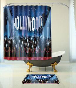 "Hollywood Bathroom Mat Waterproof Polyester Fabric Shower Curtain Hooks 72"" 50"