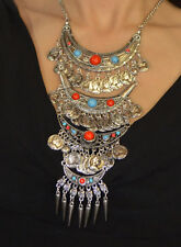 Moroccan Jewelry Berber Coin Necklace Ethnic Tribal Metalwork Vintage African
