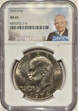 1974 D Eisenhower Dollar MS65 NGC Portrait Label