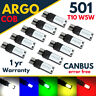 T10 Sidelight Interior 501 Led White Side light bulbs Xenon Red Amber Green W5w