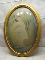 Beaded Gesso Gold Gilt Dome Bubble Glass Picture Frame Convex Girl w/Doll Photo