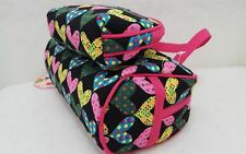 New 2 Piece DIVAS FOREVER Heart Print Matching Set Cosmetic Makeup Bags