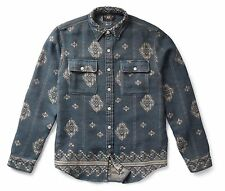 RRL Ralph Lauren Vintage Inspired Cotton Jacquard Work Shirt- MEN- S