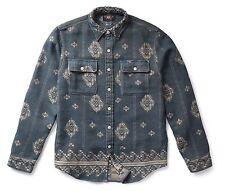 RRL Ralph Lauren Vintage Inspired Cotton Jacquard Work Shirt- MEN- S