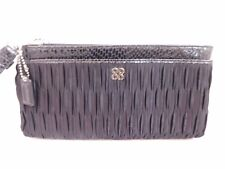 Coach Julia XL Black Pucker Pleat Snake Python Wristlet Clutch