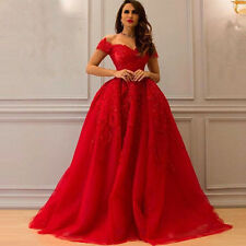 Red Appliques Prom Dress Lace Vintage Off Shoulder Quinceanera Party Ball Gown