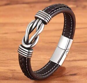 Bracelet Noeud Cuir Et Acier Inoxydable Homme /femme Couleur Marron
