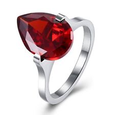 Stainless Steel Red Pear Cut Solitaire CZ Engagement Wedding Elegant Ring Size 7