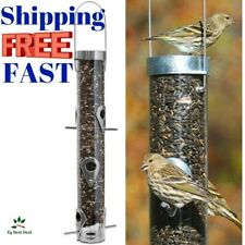 """New listing Squirrel Proof Bird Feeder Sunflower Seed 16"""" Tube Hanging 6 Ports Droll Yankees"""