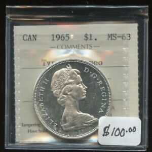 1965 Canada Silver Dollar Type V - ICCS MS-63 Cameo