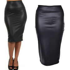 Women PU Leather High Waist Knee Length Straight Package Hip Pencil Skirt MD