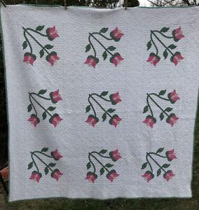 "Vintage Applique Quilt  Pink Green Flower 71 "" X  71"""