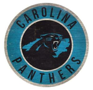 "Carolina Panthers Circle w/ State Football Wood Sign 12"" Round Decoration New NC"