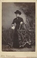 A BEREAVED WOMAN IN THE WOODS IN McPHERSON, KS -FEMALE PHOTOGRAPHER, CAB CARD