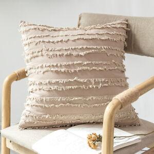 """Throw Pillow Case Cushion Cover Cotton Linen Bed Sofa Car Home Decor Solid 18"""""""