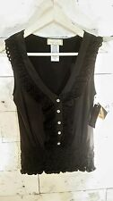 Baby Phat NWT Black Silky Fitted Lace Ruffle Jewel Button Blouse Sleeveless HOT