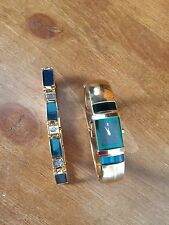 LASSALE SEIKO GREEN SAPPHIRE GOLD PLATED LADIES WATCH WITH MATCHING BRACELET