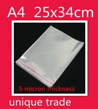 50 A4 25x34CM Cello Bags Self Adhesive Resealable Clear Plastic Cellophane Bags