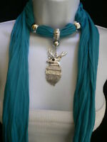 NEW WOMEN BLUE FASHION SOFT SCARF NECKLACE SILVER METAL CHRISTMAS DEER PENDANT