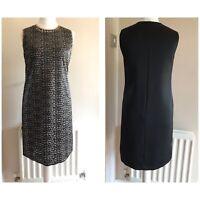 Hugo Boss Womens Black Animal Print Sleeveless Shift Cocktail Dress UK 12 Party