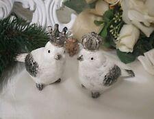 Vogelpaar Deko Silber weiss Krone Shabby  Cottage Brocante Vintage Zaunkönig