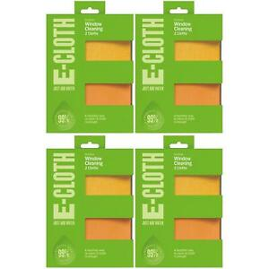 4 x e-Cloth Window No Chemicals, Microfibre Cleaning & Polishing Cloths, 2 Pack