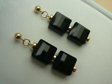 14ct Gold Fill Deco 4mm stud Swarovski elements Black stairway crystal earrings