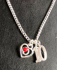 "10TH BIRTHDAY PRETTY HEART NECKLACE WITH AGE CHARM 16"" 18"" SILVER PLATED CHAIN"