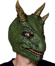 Vestido de lujo Dragon Dinosaurio Máscara elaborado de Látex Overhead Verde Reptil Fina Nuevo