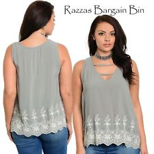 New Ladies Grey Singlet Style Top Plus Size 18/3XL (1099)OW