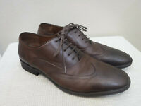 Men's JOHN VARVATOS LUXE 12 Brown Leather Wingtip Engraved Dress Oxfords Shoes