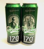 Carlsberg 170th Anniversary beer cans 450ml. Two Limited Edition. Bottom open!