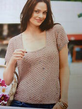 Pattern For Lady's Pretty Top In 2 Bergere De france Yarns Used Together-28-34in