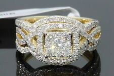 10K YELLOW GOLD 1.37 CARAT WOMENS REAL DIAMOND ENGAGEMENT RING WEDDING BANDS SET