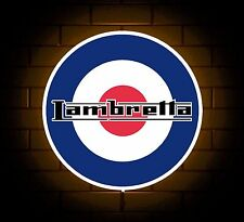 LAMBRETTA BADGE SIGN LED LIGHT BOX MAN CAVE GARAGE WORKSHOP GAMES ROOM BOY GIFT