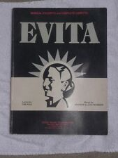 Evita Musical Excerpts and Complete Libretto Book 1979 Webber & Rice 72 pages