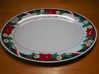 "Tienshan DECK THE HALLS 14 1/4"" Oval Serving Platter Poinsettia Design"
