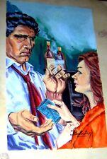 ISMAEL BALLESTEROS ORIGINAL ART COVER SIGNED RASTROS CRIME PULP ARGENTINA 1960s