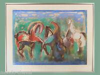 DESSIN ORIGINAL AU PASTEL sur papier signé PIERRE BOSCO, encadré, chevaux