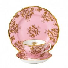 ROYAL ALBERT ART. 21464  Tazza tè con piattino + piatto cm 20 Golden Rose 1960