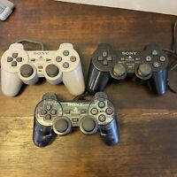 LOT OF 3: FOR PARTS OR REPAIR Sony PlayStation 2 PS2 DualShock 2 Controllers