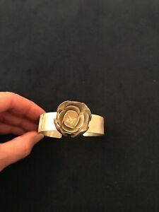 Signed Artisan BJP Sterling Silver Cuff Bracelet Open Flower