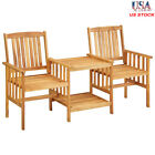Solid Acacia Wood Garden Chairs With Table 3-in-1 Slatted Bistro Table Furniture