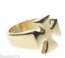 Mens Templar Iron Cross Ring Smooth 18K Gold Overlay Size 10