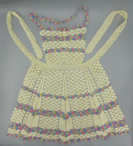 Vintage 1940's-50's Handmade Crocheted Bib Style Full Apron, Excellent Condition