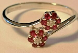 Ruby and Diamond crossover double cluster ring 9ct white gold rrp £570