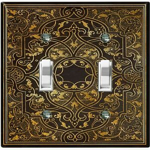 Metal Light Switch Cover Wall Plate Elegant French Victorian Frame Black FRA006